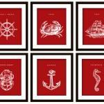6 Nautical Art Prints, Any C..