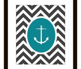 Nautical Chevron Anchor Printable Home Decor Art Print