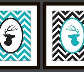 Deer and Antler Head Art Prints (Set of 2) in ANY colors