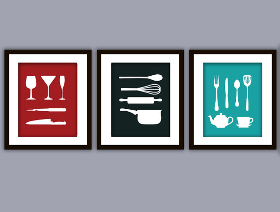 Discount Kitchen Art Print (Any Color, Set Of Three) On Luulla