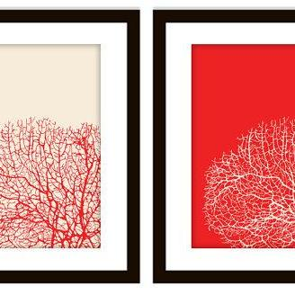 Bathroom Sea Coral Art Prints (Set of 2) in ANY colors